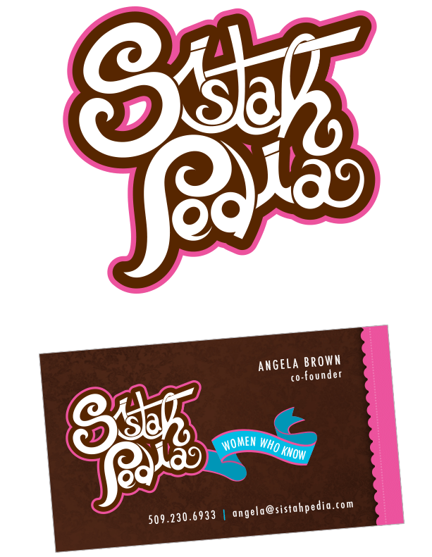 Sistahpedia logo and business card